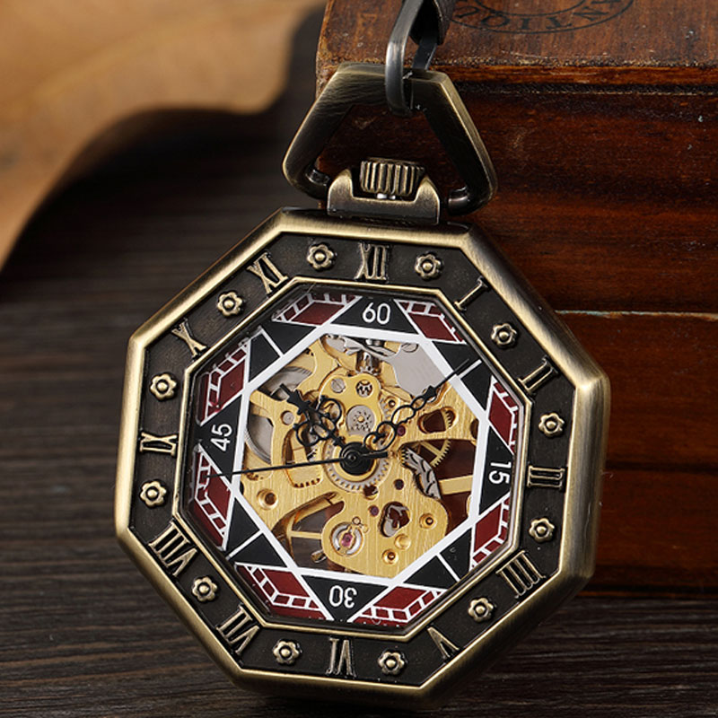 Antique Delicate Engrave Octagon Mechanical Pocket Watch For Men Steampunk Skeleton Fob Hand Watch Bronze Chain Necklace Clock