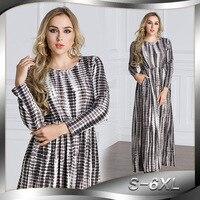 2018 Mùa Xuân Hè Thu Phụ Nữ Muslim Váy O Cổ Dài Tay Áo cộng với Kích Thước 6XL Abaya Arab Thổ Nhĩ Kỳ Jilbab Dubai Dài Maxi Dress