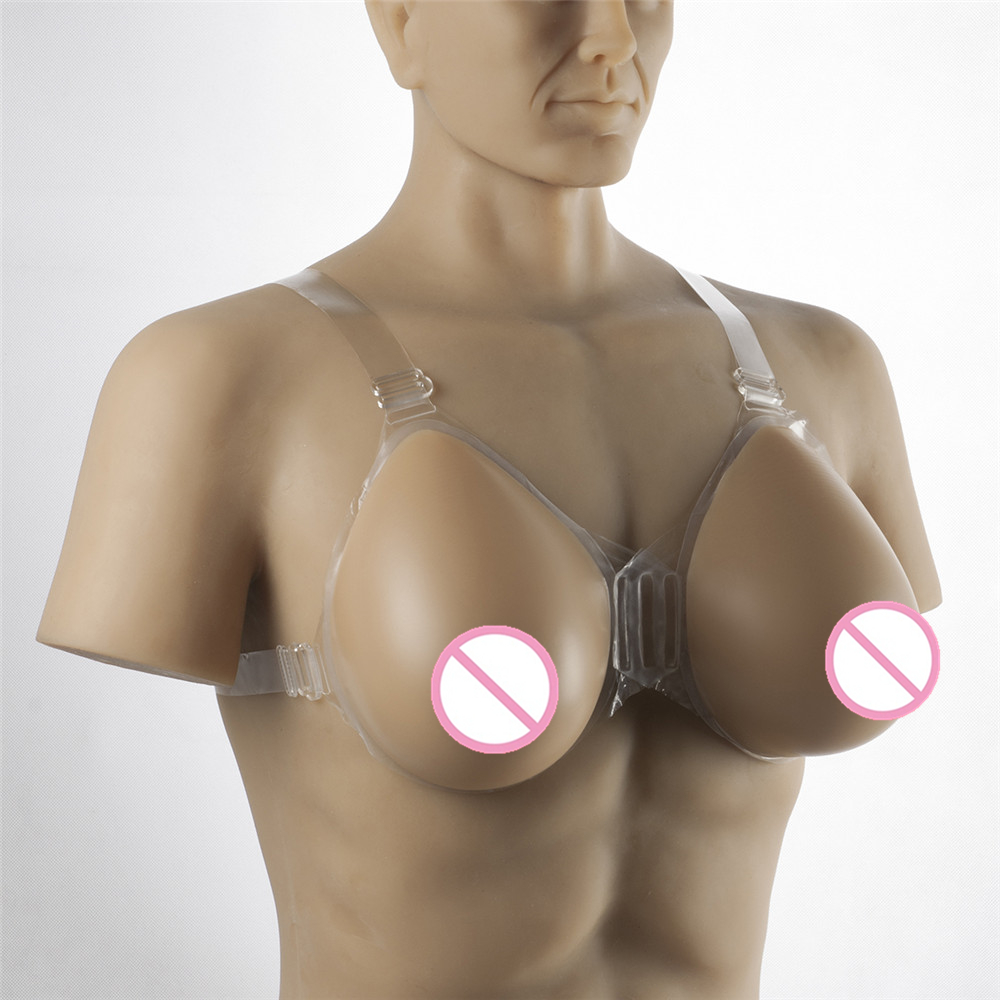 Buy Realistic Breast Form 1600g/pair Drag Queen Shemale Crossdresser Silicone Breasts Strap-On Artificial Fake Boobs