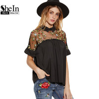 SheIn Summer Tops Black Flower Embroidered Sheer Neck Ruffle Cuff Tie Back Top Woman Short Sleeve