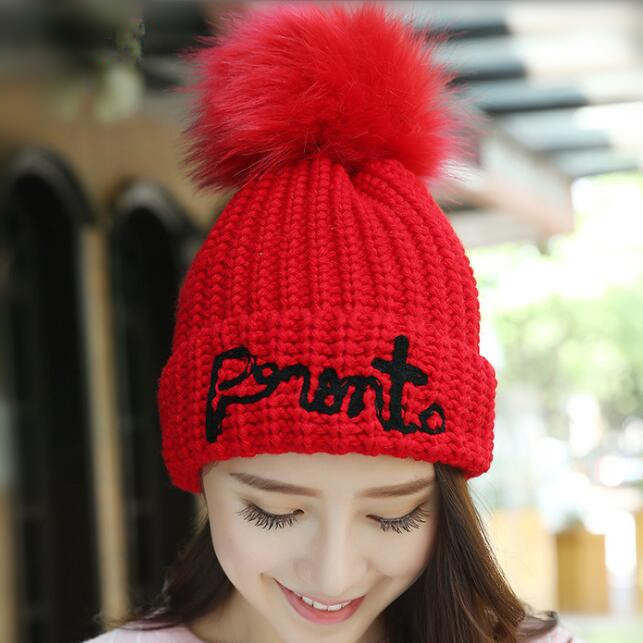 2017 Women Spring Winter Hats Beanies Knitted Cap Crochet Hat Rabbit Fur Pompons Ear Protect Casual Cap with letter winter women beanies pompons hats warm baggy casual crochet cap knitted hat with patch wool hat capcasquette gorros de lana