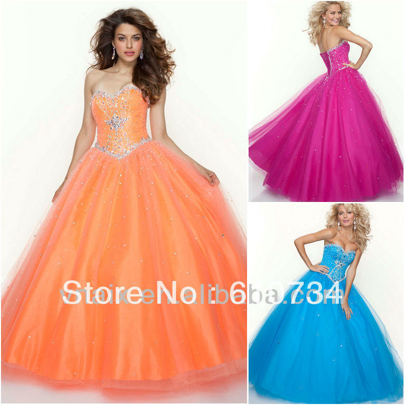 P0628 Blue Hot Pink Blue Sequin Victorian Prom Dresses Ball Gown ...