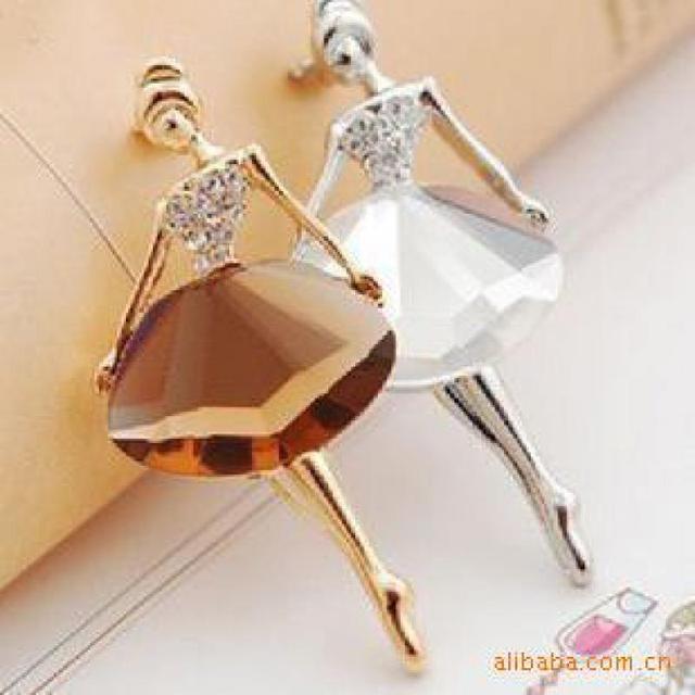 Moda Ragazza di Balletto Ballerino Popolare Elegante del Rhinestone di Cristallo Spilla Pin Accessori Dei Monili del Corpo