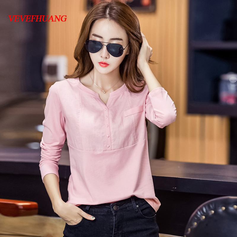 VEVEFHUANG Spring New Ladies Casual T-Shirt V-Neck Long Sleeve Cotton Women Linen Shirt Female Solid Color Plus Size Tops