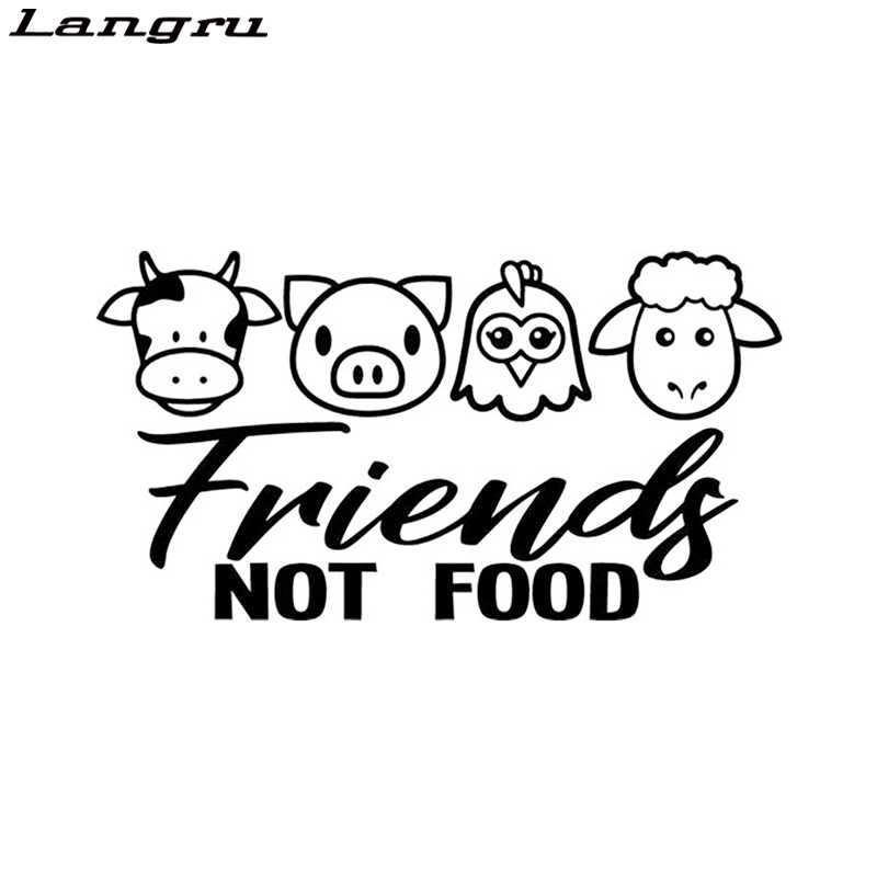 Langru Vegan Arkadaşlar Değil Gıda Inek Tavuk Domuz Eti Kuzu Çıkartması Pencere Tampon vinil araç örtüsü Çıkartmalar Jdm