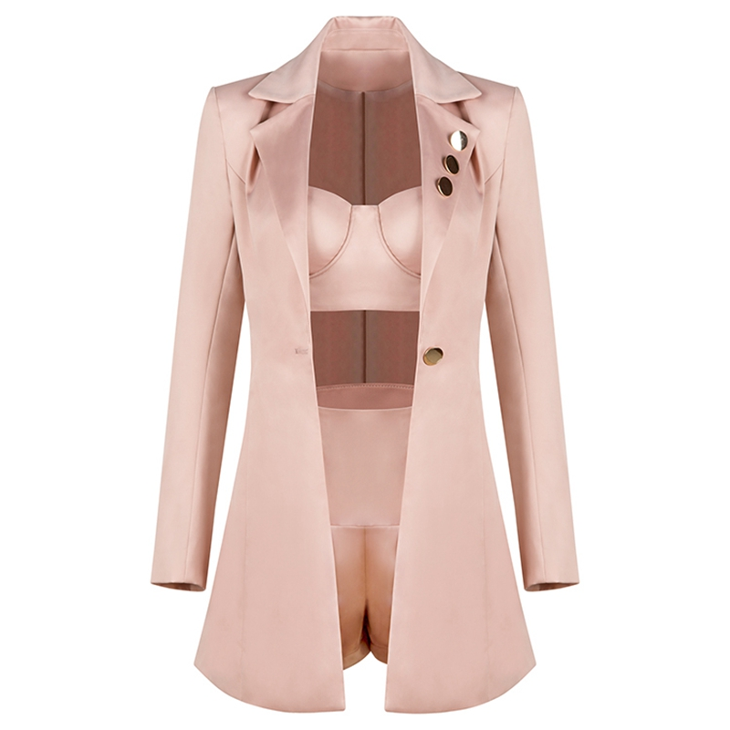 2019 Shortsamp; Pièces Cultures Party 3 Et Ensemble Trois Hauts Celebrity Rose Veste Clubwear Nouveau Femmes Ensembles VpUzSM