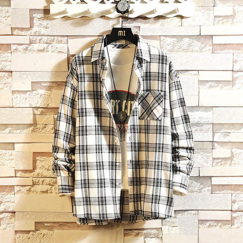 0147 Spring Plaid Shirt Men Long Sleeves Loose Cotton Lapel Collar Streetwear Japanese Style Casual Shirts For Men Harajuku in Casual Shirts from Men 39 s Clothing