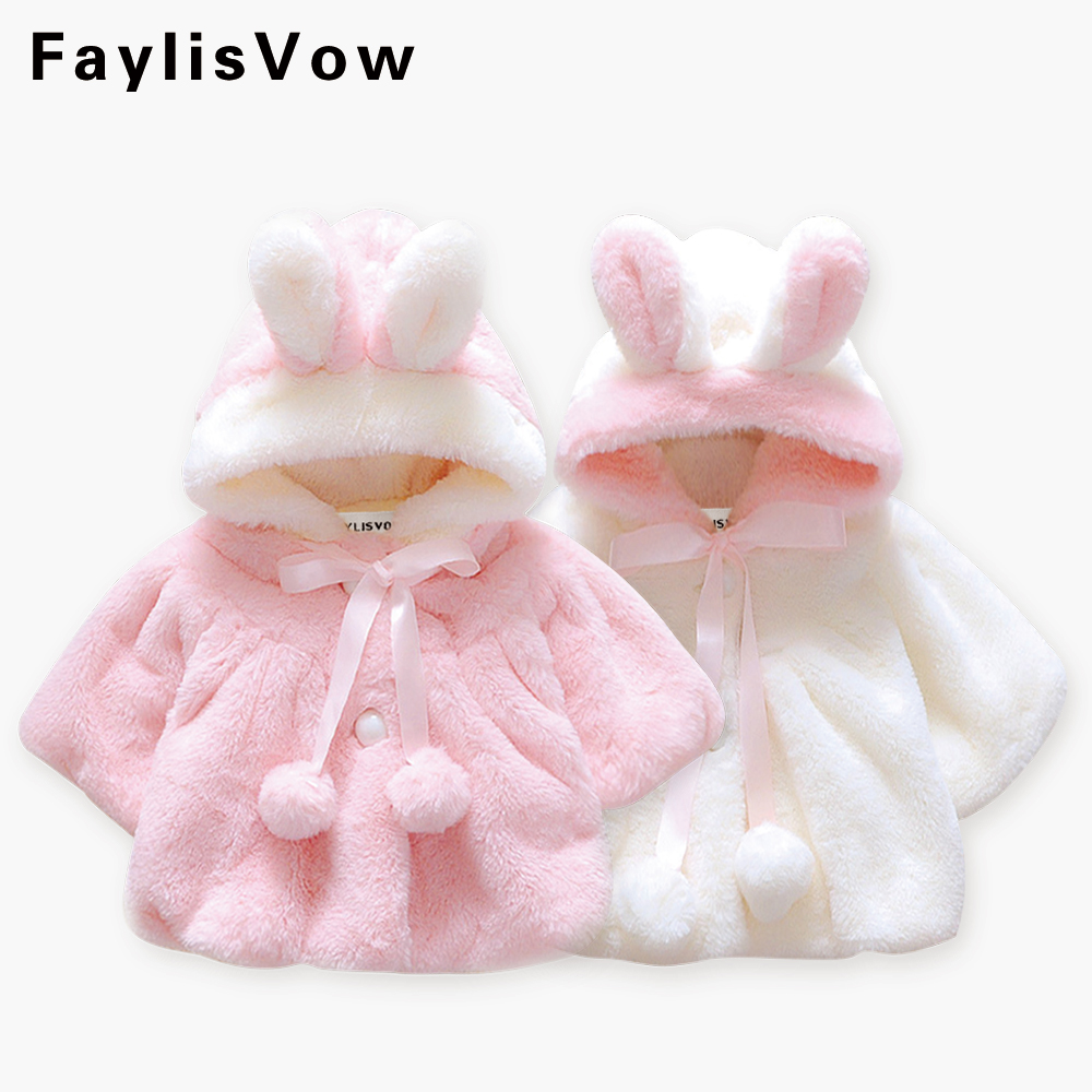 Baby Girls Fur Warm Coat Infant Winter Cloak Jacket Thick Warm Clothes Cute Rabbit Ears Hooded Outerwear Manteau Fille Fur Parka