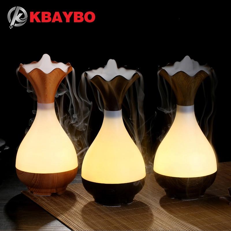 USB humidificador de aire ultrasonido aromaterapia difusor de aceite esencial Aroma LED noche luz atomización purificador florero de madera