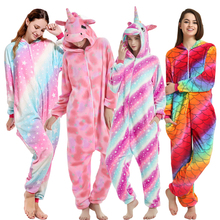 Pink Unicorn Pajamas Sets Flannel Cartoon Adults Animal Winter Nightwear Kigurumi Onesies Sleepwear for Women Men Pyjama