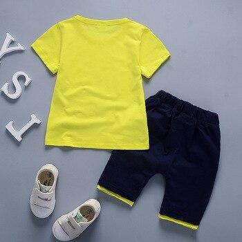 Newborn baby boy summer clothing set for kids short-sleeved cartoon T-shirt+short pants 2Pcs children clothing 1