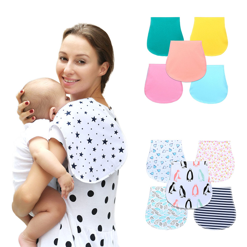 New Baby Burp Bibs Infant Baby Burp Cloths 100% Cotton Three Layers Waterproof Set Curved Absarbent Soft Gift Baby Accessories