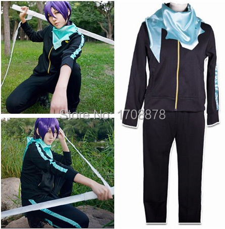 Anime Noragami Yato Cosplay Costume Unisex  Jacket Daily Sportswear Whole Set ( Coat + Pants + Scarf )