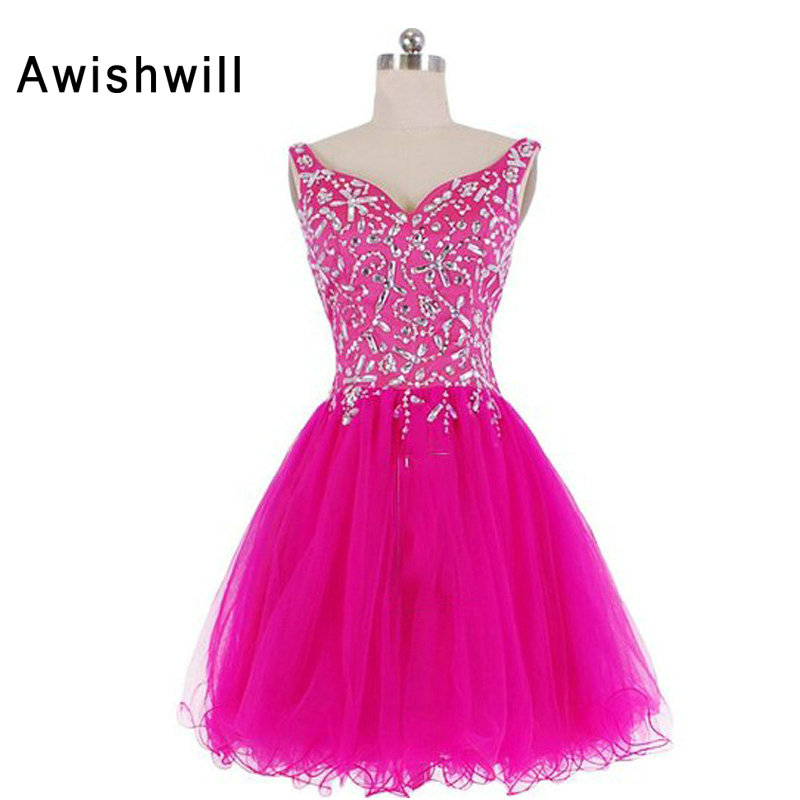Real Photo Robe de   Cocktail   Beaded Rhinestones A-Line Fushia Color   Cocktail     Dresses   Short Mini Party Homecoming   Dress