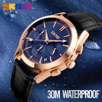 SKMEI 9127 NEW Men Quartz Watch Fashion And Casual Wristwatches Leather Strap Stopwatch Waterproof Relogio Masculino