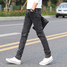 Jeans Men Spring 2019 Casual Gray Snowflake Denim Pants Distressed Slim Fit Skinny Stretch Ripped Jeans Plus Size odinokov brand 2017 spring autumn new arrival men jeans slim fit casual zipper fly denim pants plus size free shipping