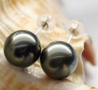 Free Shipping Charming Huge 10 11mm Tahitian Black Green Round Pearl Earring 18