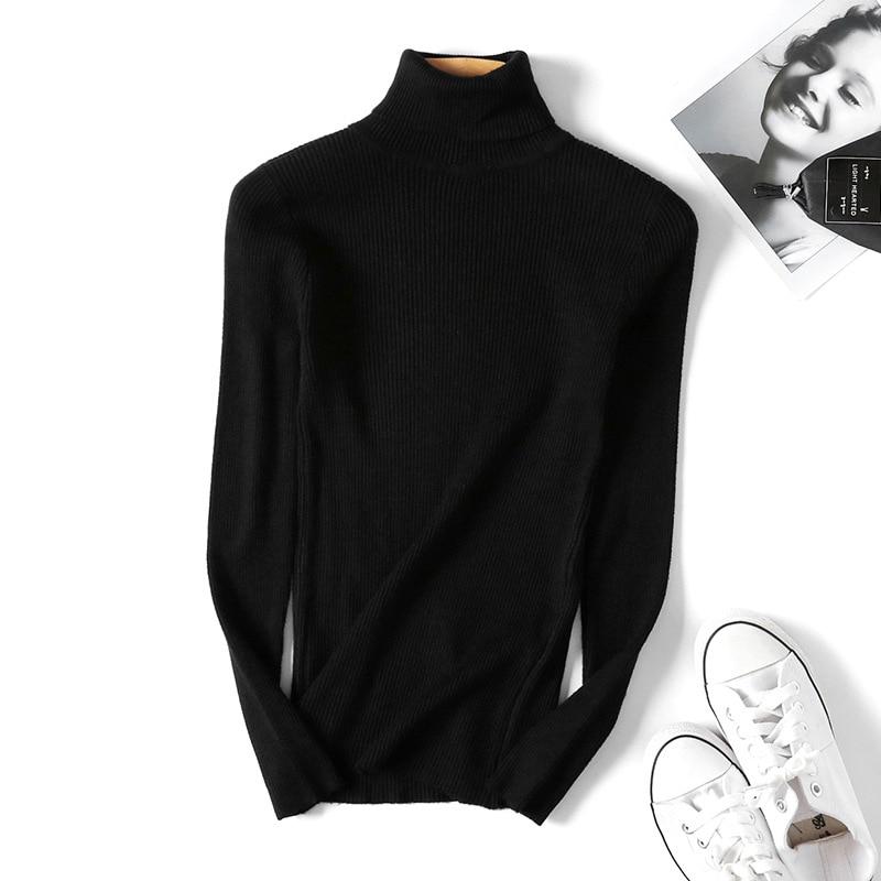 Winter autumn turtleneck Black Sweater Women Skinny Elastic Knitted Soft Pullover Sweater female 19 korean fashion Pullovers 14