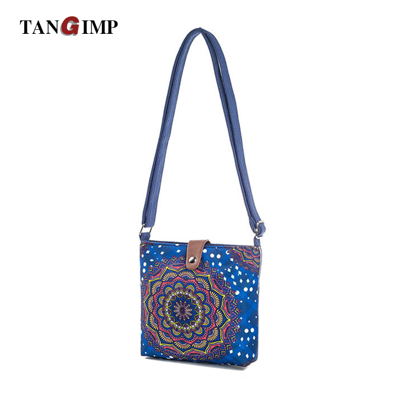TANGIMP Mandala Flower Shoulder Bags Women Ethnic Single Strap Canvas Messenger Phone Bags Mandala Handbag For Ladies Bolsa Blue