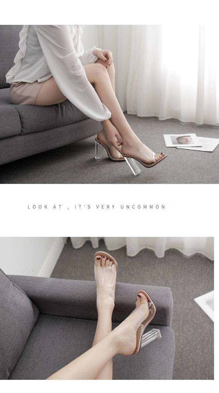 HTB1Mnvka2fsK1RjSszbq6AqBXXan Aneikeh New Women Sandals PVC Jelly Crystal Heel Transparent Women Sexy Clear High Heels Summer Sandals Pumps Shoes Size 41 42