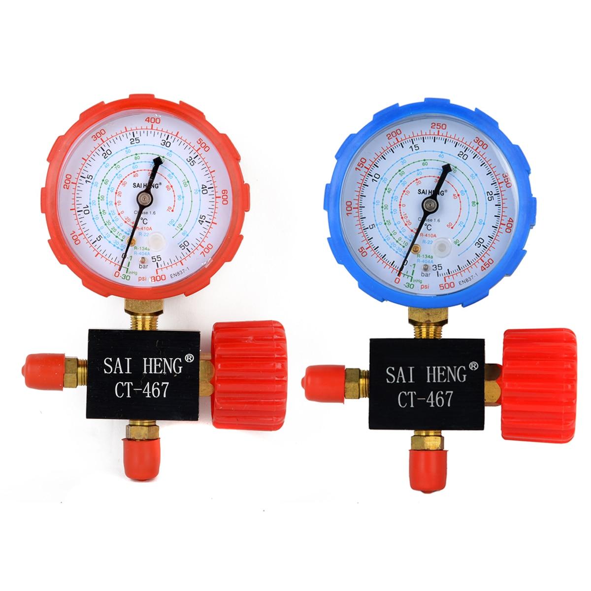 1 stück/2 stücke Gute Klimaanlage Manifold Gauge Hohe/Niedrige Druck R134a R404a R22 R410a Kältemittel Manometer mit Ventil Mayitr