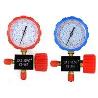 1 stück/2 stücke Gute Klimaanlage Prüfarmatur Hohe/Niederdruck R134a R404a R22 Kältemittel R410a Manometer mit Ventil Mayitr