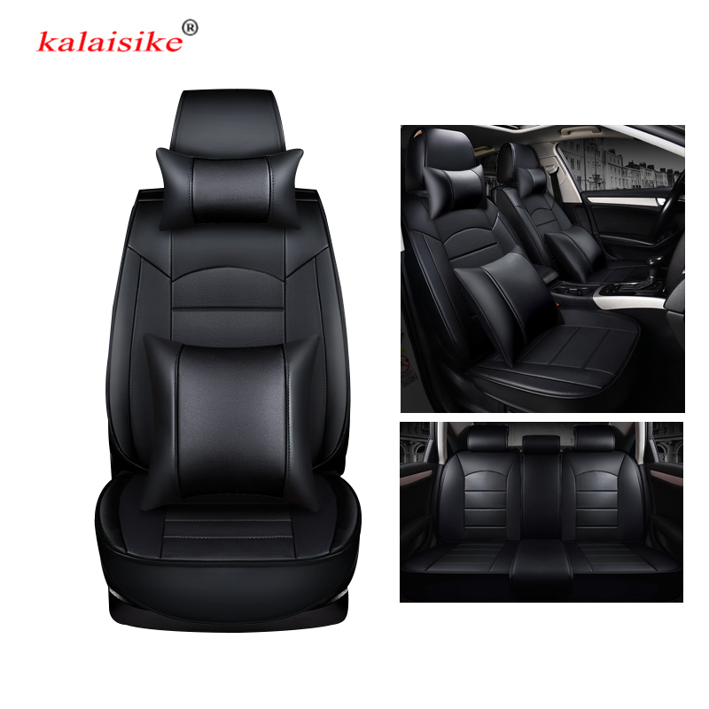 kalaisike leather universal car seat covers for Jaguar all models F-PACE XF XE XJ XJL XFL XEL car styling auto accessories 3d full covered waterproof boot carpets durable custom car trunk mats for 2012 2018 year jaguar xfl xel xjl f pace xf xj