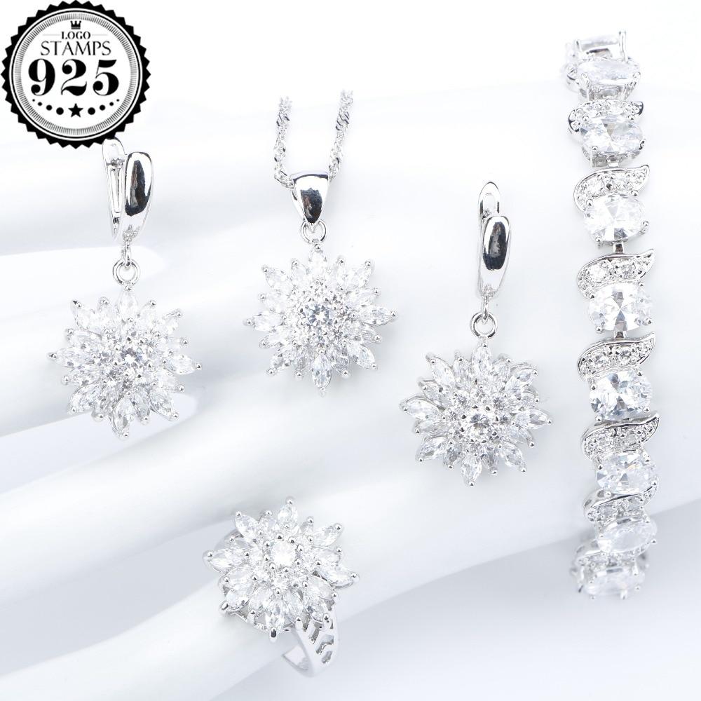 Bracelets Earrings Necklace-Set Pendant Gift-Box Bridal-Jewelry-Sets Silver 925 Women