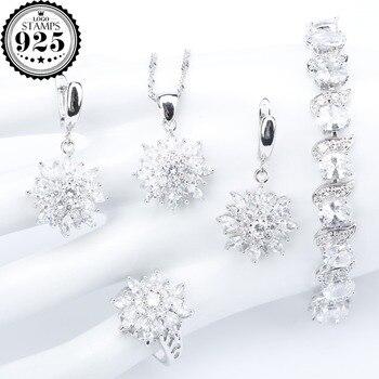 bcd0ca3cd731 Zirconia blanca Natural plata 925 mujeres joyería nupcial conjuntos  pulseras anillos pendientes con piedras colgante y collar conjunto caja de  regalo