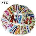 50 unids Caliente Nueva Flor Manicura Herramientas Nail Art Stickers Tips Adhesivos Adornos de DIY Completo de Agua Estampado XF1372-1421 STZ086-133