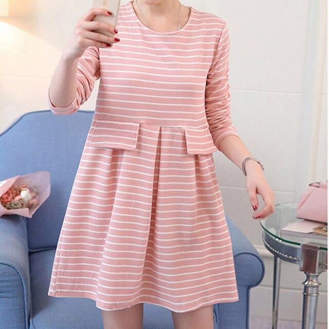 2017 for pregnant women Cotton spring Striped maternity clothes pregnant dress  fashion plus size nursing clothes woman dresses