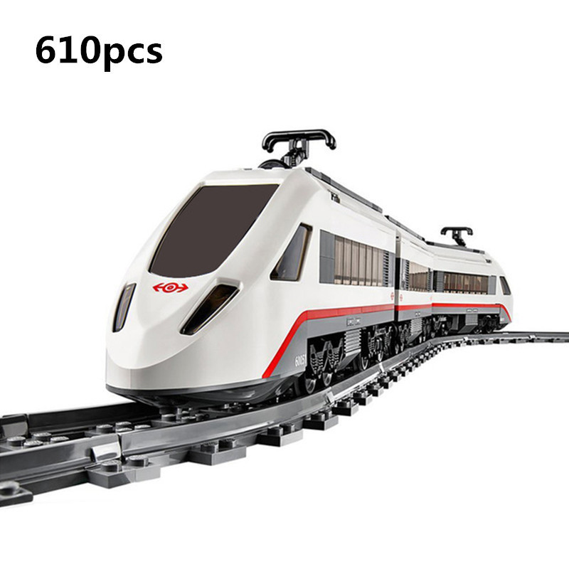 Lepin 02010 City Creator Series the High speed Passenger Train ho Remote control RC Rail Set model Building Blocks Bricks 60051 lepin 02009 city engineering remote control rc train model