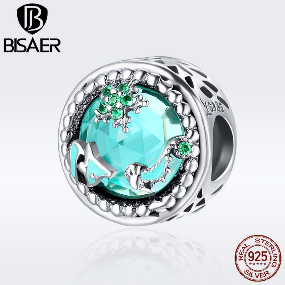 BISAER Authentic 925 Sterling Silver Tropical Fish Sea Stone Beads fit Original PAN Charm Bracelets DIY Fine Jewelry GXC246