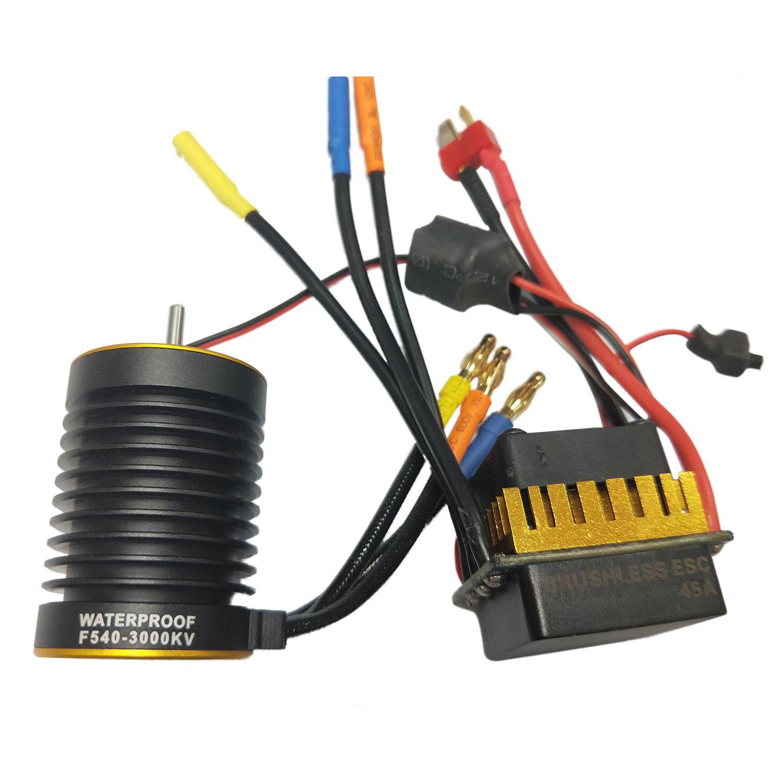 HOT SALE F540 3650 Water-proof Motor + 45A ESC for 1/10 ForRemote control off-road, flat car generic roland scan motor for sj 540 sj 740 fj 540 fj 740 sc 540 printer parts motor