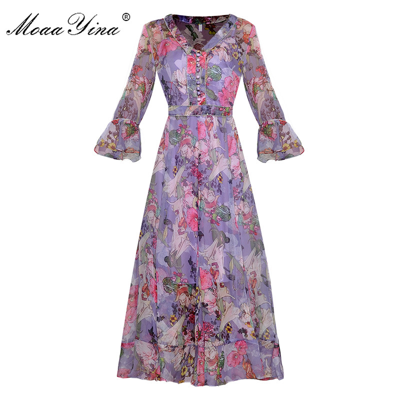 MoaaYina Fashion Runway dress Spring Summer Women Dress Beading V neck Single breasted Butterfly Sleeve Floral