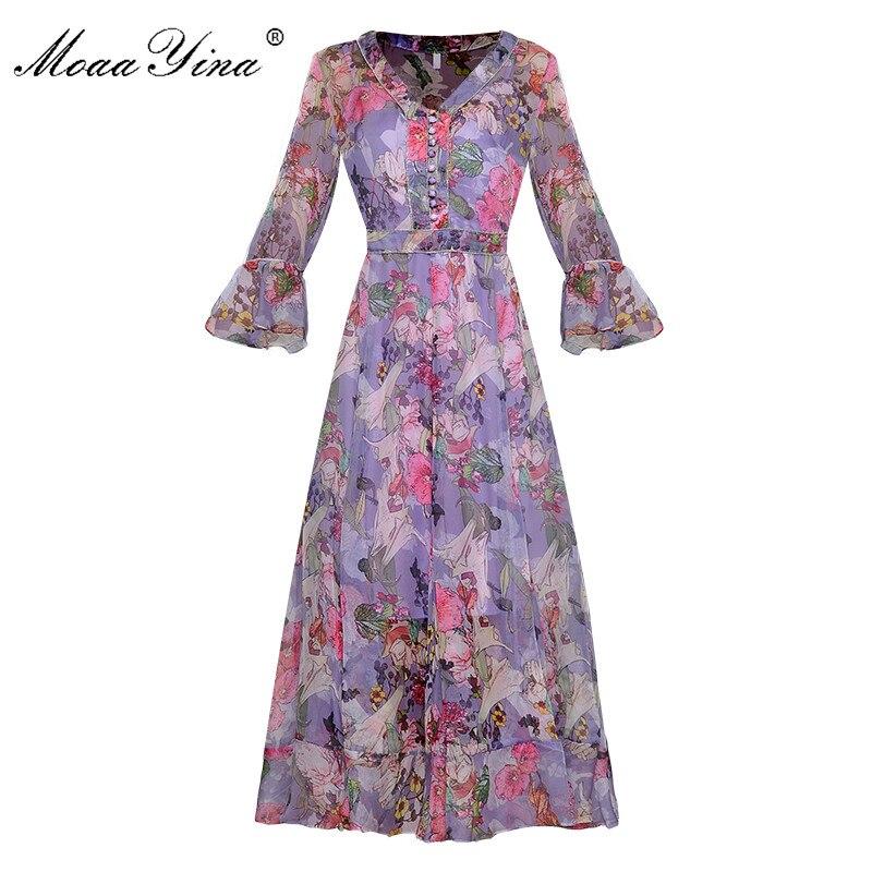 MoaaYina Fashion Runway kleid Frühling Sommer Frauen Kleid Perlen Mit V ausschnitt einreiher Schmetterling Sleeve Floral Print Kleider-in Kleider aus Damenbekleidung bei  Gruppe 1