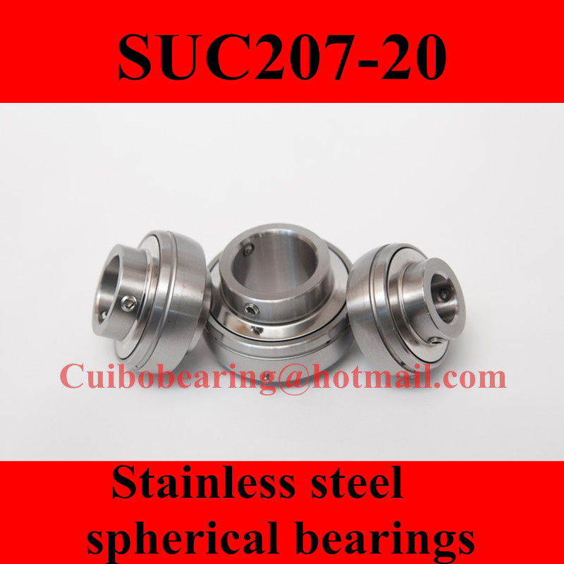 Freeshipping Stainless steel spherical bearings SUC207-20