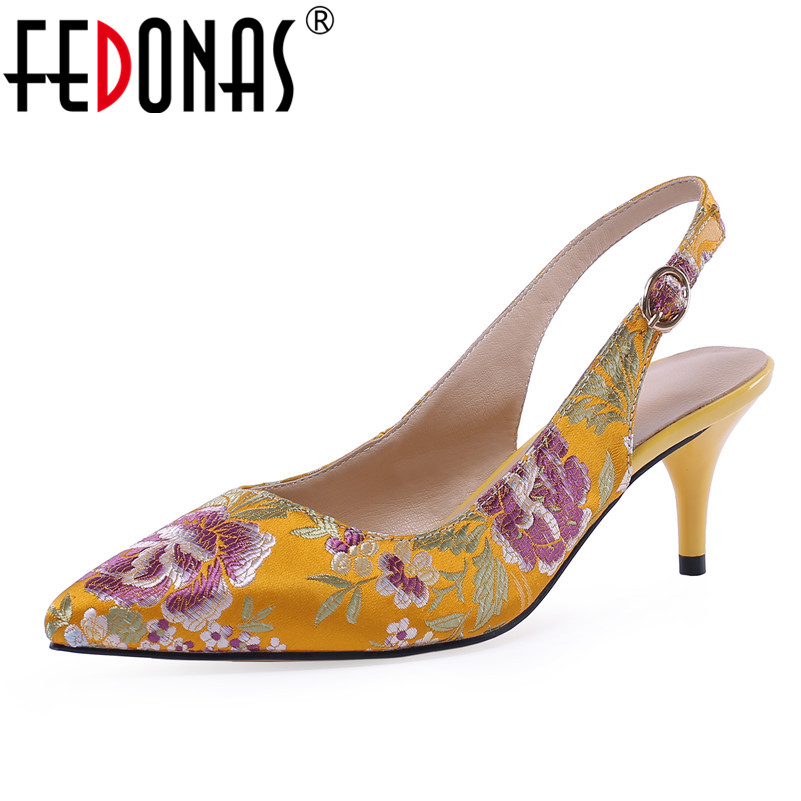 FEDONAS 2019 New Elegant Vintage Pointed Toe Buckle Women Pumps Silk Flowers Summer Single Shoes Woman Prom Office Lady Shoes