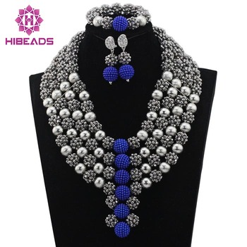 Fantastic Silver Crystal Beaded Balls Pendant Necklace Set Chunky Costume Women Jewelry Set 2017 Bride Beads Free Shipping WD361