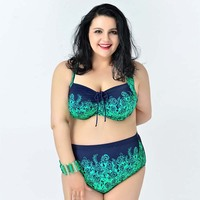 2016 Large Size Hot Plus Size Swimsuit High Waist New Spring Summer Suit Push Up Halter