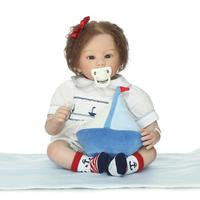 22 Reborn Baby Doll with Blue Eyes of High Grade Silicone Reborn Dolls with Hand Rooted Mohair in Lovely Navi Clothes as Gifts