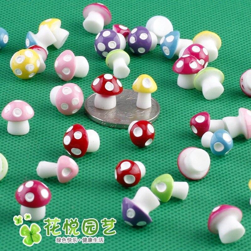 100 pçs lote sólida resina cogumelo colorido tamanho mix cabochão