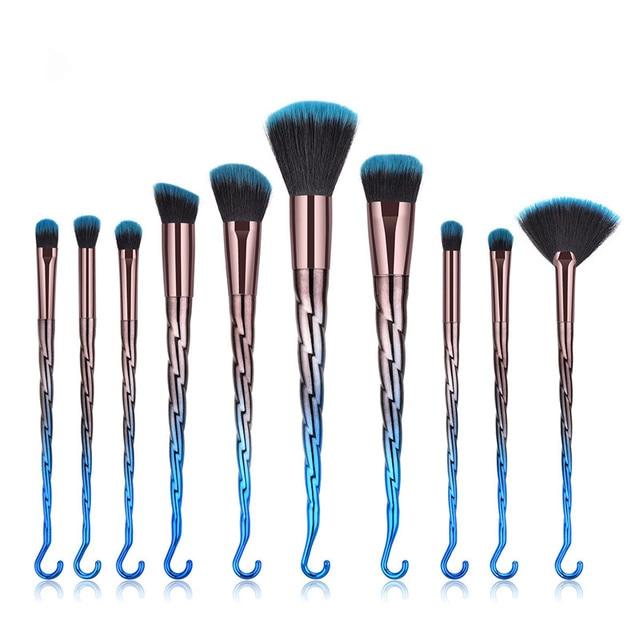 10pcs/set Makeup Brushes New Thread hook Eyebrow Eyeliner Lip Brushes Profession Nose Base Fan Make Up Kwasten Brush Sets Tools 3