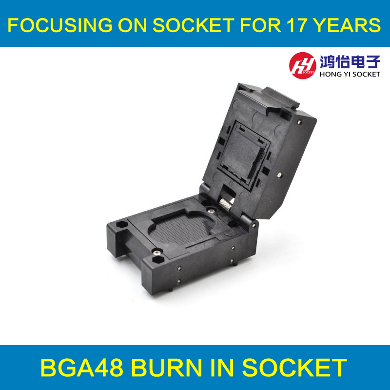 BGA48 Clamshell burn-in socket pin pitch 0.8mm IC size 8*10mm BGA48(8*10)-0.8-CP08/50N BGA48 VFBGA48 Burn in/programmer socket fshh qfn32 to dip32 programmer adapter wson32 udfn32 mlf32 ic test socket size 3 2mmx13 2mm pin pitch 1 27mm