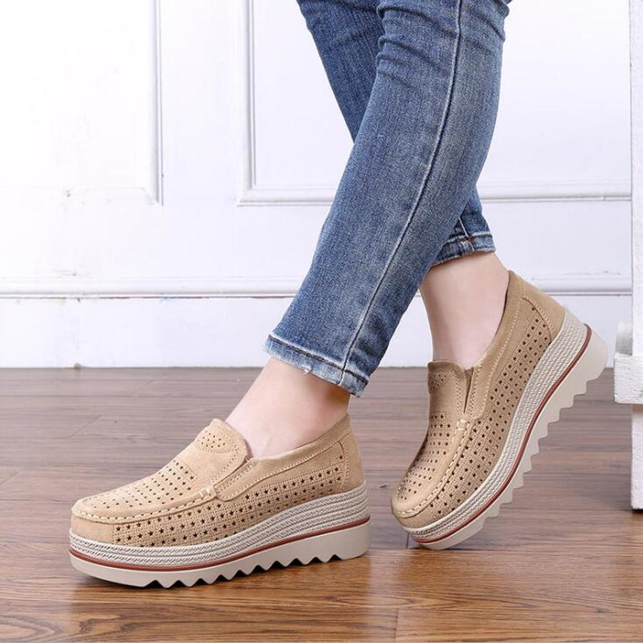 Dwayne new women flats shoes platform sneakers shoes   leather     suede   casual shoes slip on flats heels creepers moccasins sandalias
