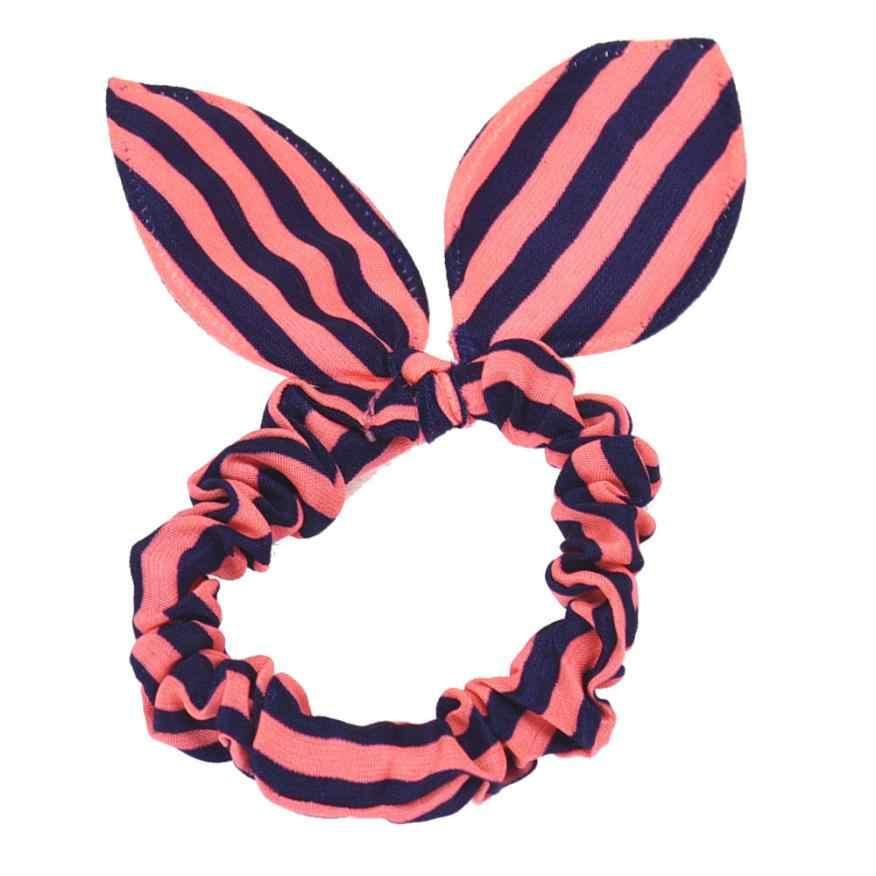 1 Pza Orejas de conejo rayas Anillo para el pelo bonito nudo de mariposa para niños horquilla de joyería para mujeres soporte para el pelo trenzado de dropshipping