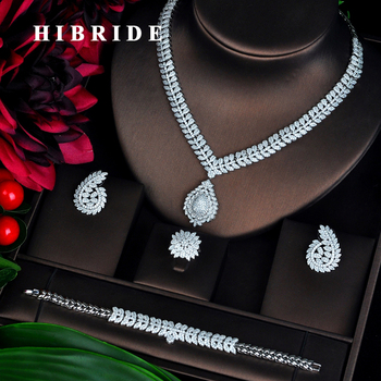 HIBRIDE Sparkling New Design Dubai Jewelry Sets For Women Bridal Wedding Accessories Pendientes mujer moda N-705