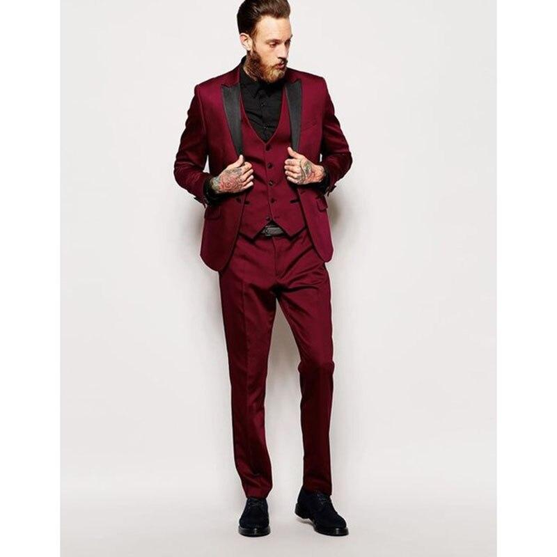 ล่าสุดการออกแบบเสื้อกางเกงเบอร์กันดีพรหมผู้ชายชุดกระชับสัดส่วน 3 ชิ้นทักซิโด้บุรุษชุดเจ้าบ่าวเสื้อ Terno masuclino-ใน สูท จาก เสื้อผ้าผู้ชาย บน   1