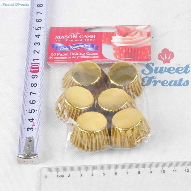 Sweettreats 50Pcs Gloden Paper Cupcake Baking Cups Papier mini ...