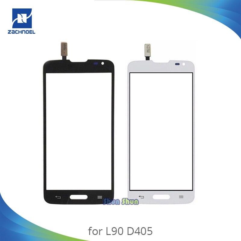 4.7 ''D405 לוח מגע עבור LG L90 D415 D405 מגע מסך Digitizer חיישן קדמי זכוכית עדשה שחור לבן נייד טלפון חלקי
